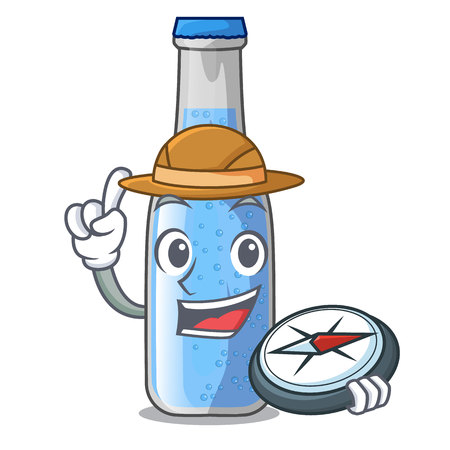 Explorer glass of soda water on character vector illustration Ilustração