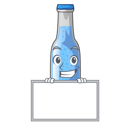 Grinning with board soda water and ice cubes cartoon vector illustration Çizim