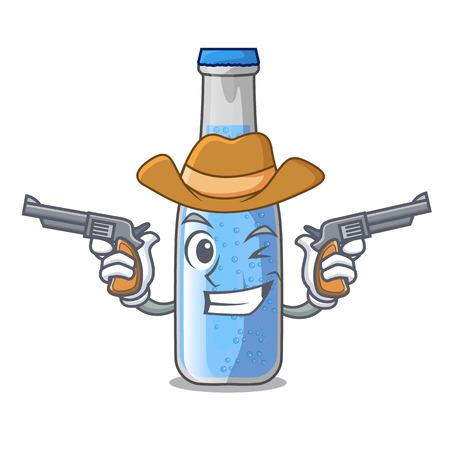 Cowboy soda water and ice cubes cartoon vector illustration