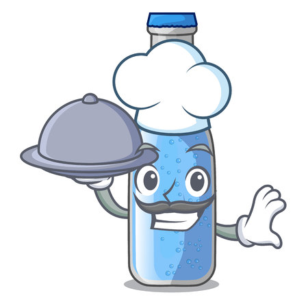 Chef with food glass of soda water on character vector illustration Ilustração