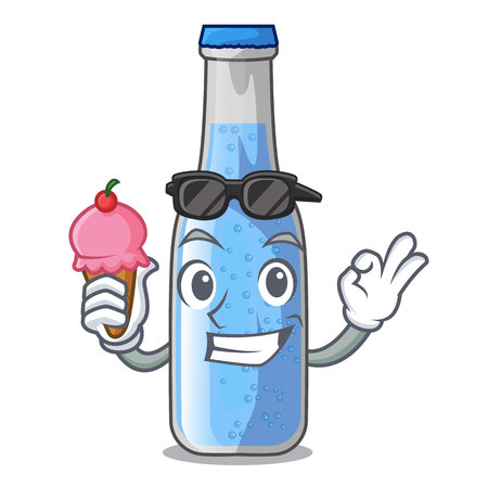 With ice cream soda water bottle near cartoon table vector illustration