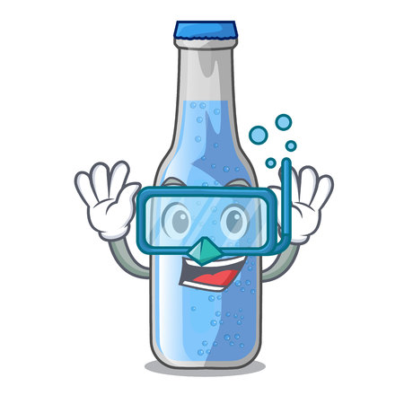 Diving soda water bottle near cartoon table vector illustration