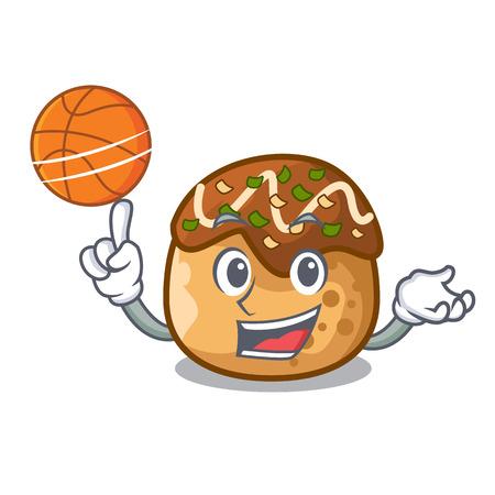 With basketball cartoon cooking takoyaki in baked fire vector illustration