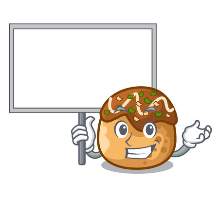 Bring board cartoon cooking takoyaki in baked fire vector illustration
