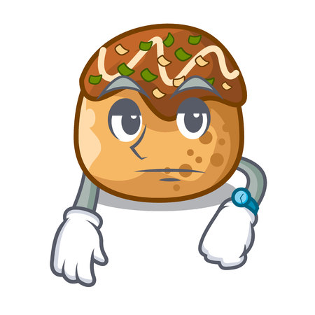 Waiting takoyaki shape in balls a cartoon vector illustration 일러스트