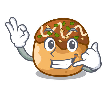 Call me takoyaki shape in balls a cartoon vector illustration