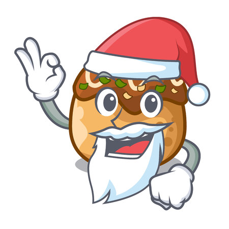 Santa takoyaki shape in balls a cartoon vector illustration