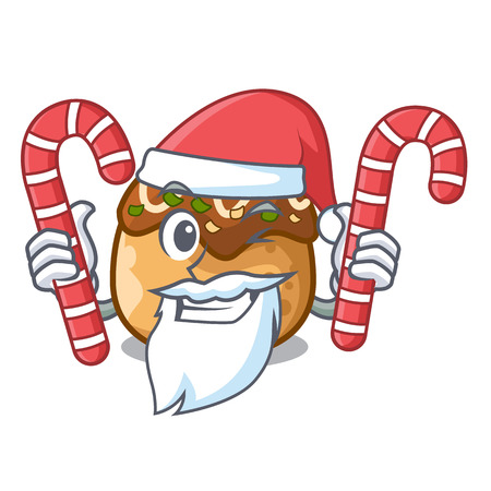 Santa with candy takoyaki shape in balls a cartoon vector illustration