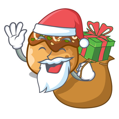 Santa with gift takoyaki shape in balls a cartoon vector illustration 일러스트
