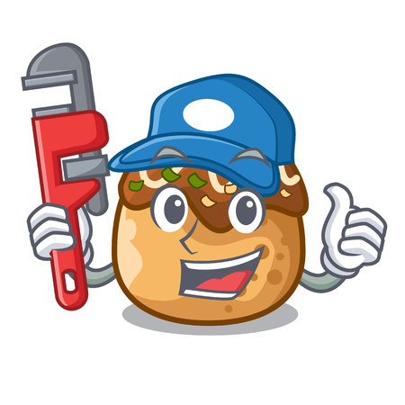 Plumber takoyaki shape in balls a cartoon vector illustration