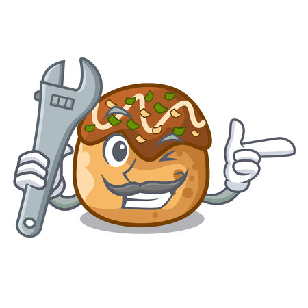 Mechanic takoyaki shape in balls a cartoon vector illustration