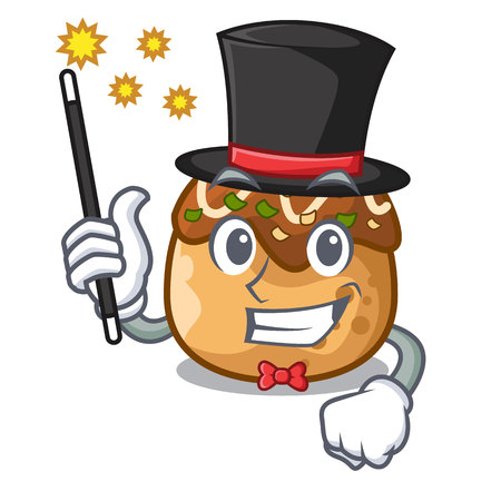 Magician takoyaki shape in balls a cartoon vector illustration
