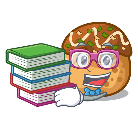 Student with book takoyaki shape in balls a cartoon vector illustration 일러스트