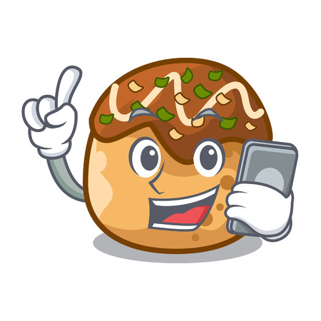 With phone cartoon cooking takoyaki in baked fire vector illustration