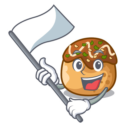 With flag takoyaki shape in balls a cartoon vector illustration 일러스트