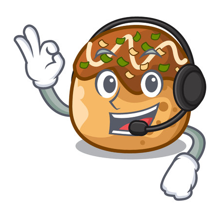 takoyaki shape in balls a cartoon vector With headphone illustration