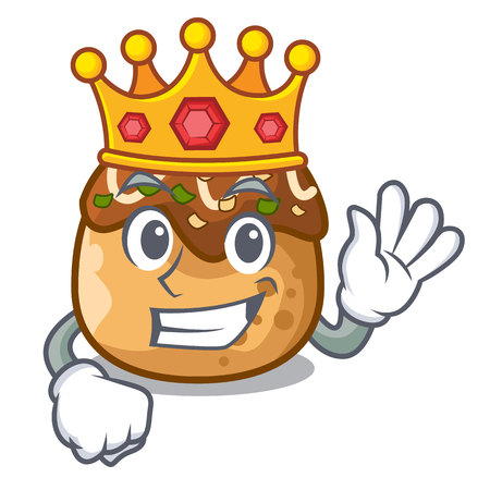 King takoyaki shape in balls a cartoon vector illustration