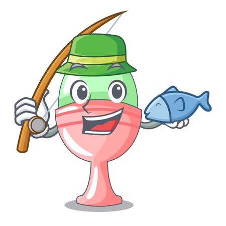 Fishing boiled organic chicken egg in cartoon vector illustration Vectores