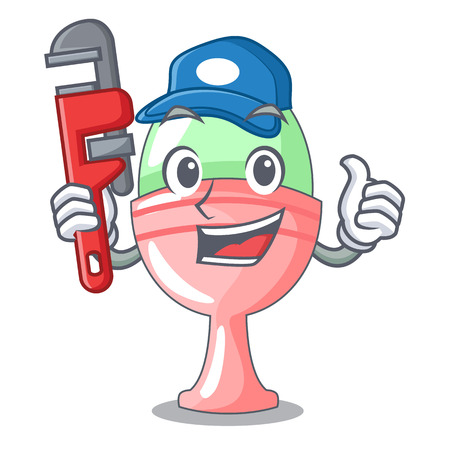 Plumber in egg cup isolated on character vector illustration