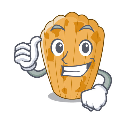 Thumbs up cake madeleine french isolated on mascot vector illustration  イラスト・ベクター素材