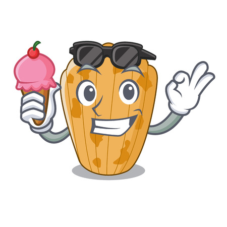 With ice cream cake madeleine french isolated on mascot vector illustration