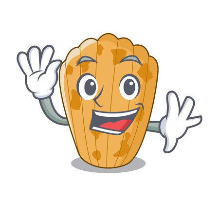 Waving cake madeleine french isolated on mascot vector illustration  イラスト・ベクター素材