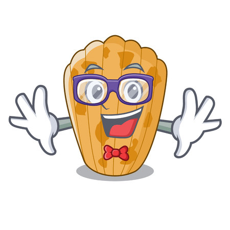 Geek cake madeleine french isolated on mascot vector illustration