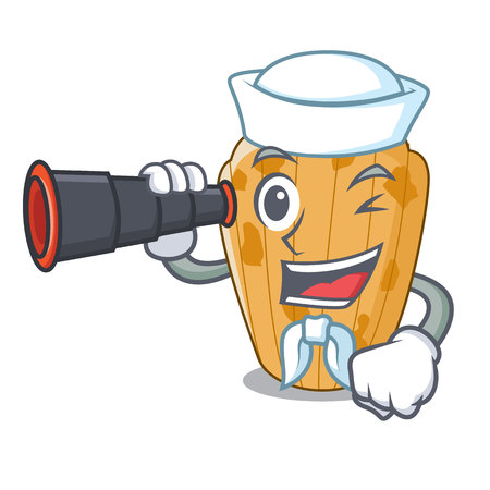 Sailor with binocular cake madeleine character a homemade traditional vector illustration