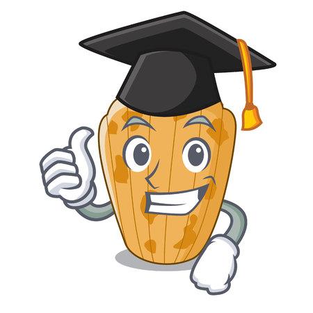 Graduation cake madeleine french isolated on mascot vector illustration