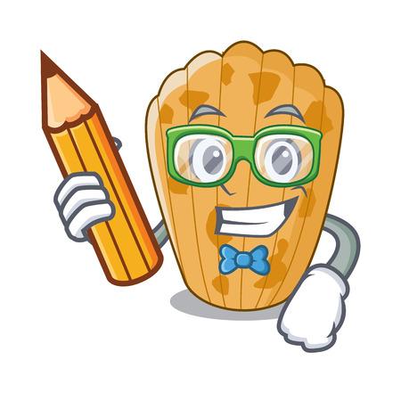 Student cake madeleine french isolated on mascot vector illustration