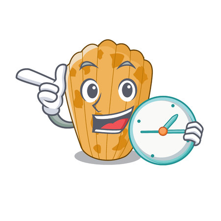With clock cake madeleine french isolated on mascot vector illustration