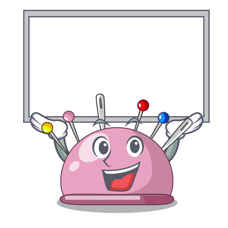 Up board wicker basket on a pincushion cartoon vector illustration