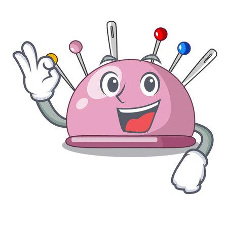 Okay pincushion with a character needles icon vector illustration Illustration