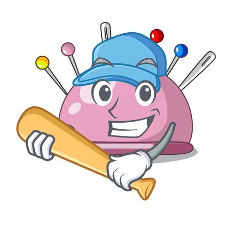 Playing baseball wicker basket on a pincushion cartoon vector illustration Illustration