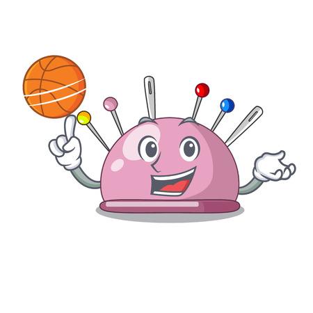 With basketball wicker basket on a pincushion cartoon vector illustration Illustration