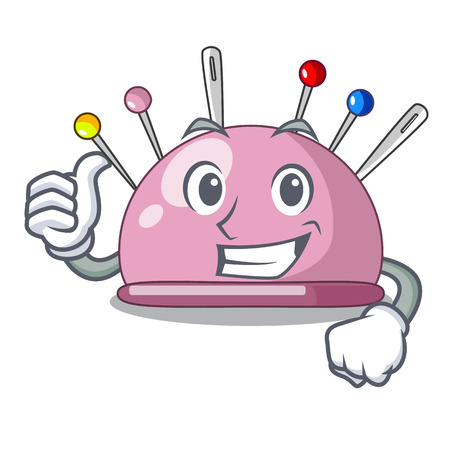 Thumbs up pincushion with a character needles icon vector illustration