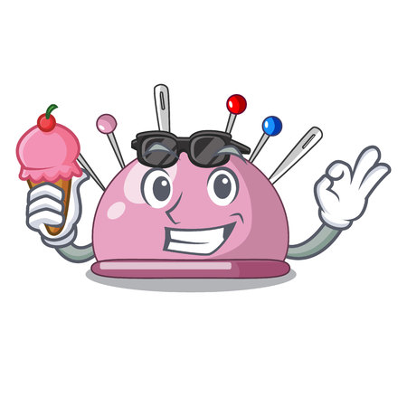 With ice cream pincushion with a character needles icon vector illustration Illustration