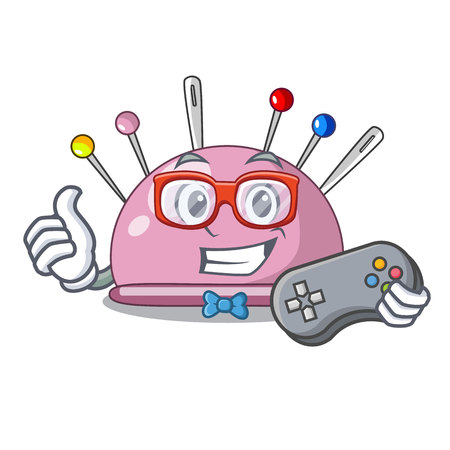 Gamer sewing pins and pincushion on mascot vector illustration