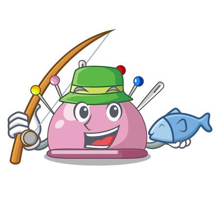 Fishing sewing pins and pincushion on mascot vector illustration