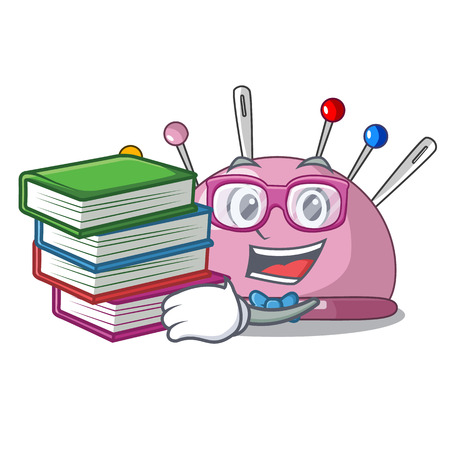 Student with book pincushion a cartoon pins for sewing vector illustration
