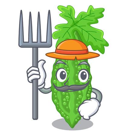 Farmer Bittermelone isoliert auf einer Maskottchen-Vektor-Illustration Vektorgrafik