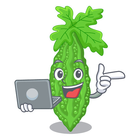 With laptop Bitter melon isolated on a mascot vector illustratation