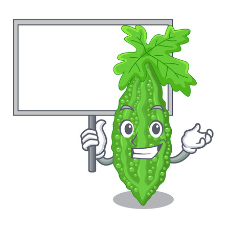 Bring board Bitter melon isolated on a mascot vector illustratation