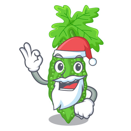 Santa momordica bitter melon on pear cartoon vector illustration