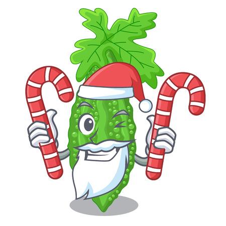 Santa with candy momordica bitter melon on pear cartoon vector illustration 向量圖像