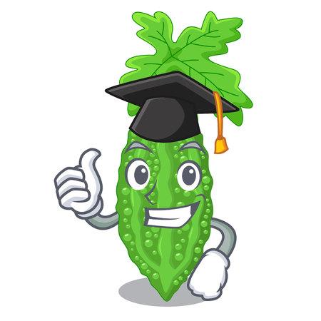 Graduation bitter melon gourd on shape cartoon vector llustration