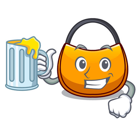 With juice hobo bag outline on image cartoon vector illustration