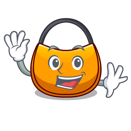 Waving beautifully hobo bag on character funny vector illustration