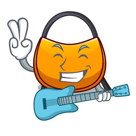 With guitar hobo bag outline on image cartoon vector illustration