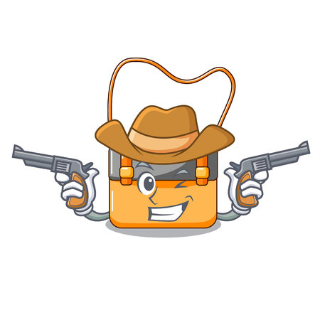 Cowboy messenger bag on a isolated mascot